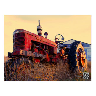 old tractor red machine vintage postcard