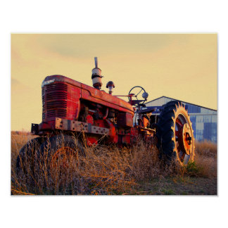 old tractor red machine vintage poster