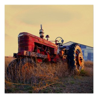 old tractor red machine vintage