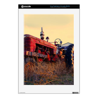 old tractor red machine vintage PS3 console skin