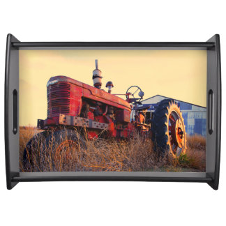 old tractor red machine vintage serving tray