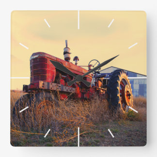 old tractor red machine vintage square wall clock