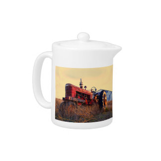 old tractor red machine vintage teapot