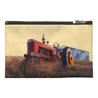 old tractor red machine vintage travel accessory bag