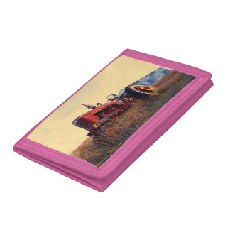 old tractor red machine vintage tri-fold wallet