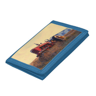 old tractor red machine vintage trifold wallets