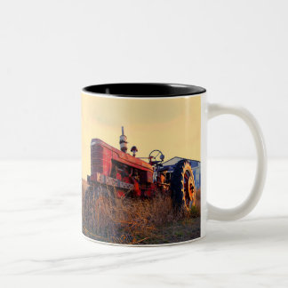 old tractor red machine vintage Two-Tone coffee mug