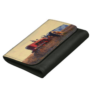 old tractor red machine vintage women's wallet