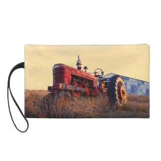 old tractor red machine vintage wristlet purse