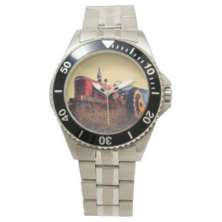 old tractor red machine vintage wristwatch