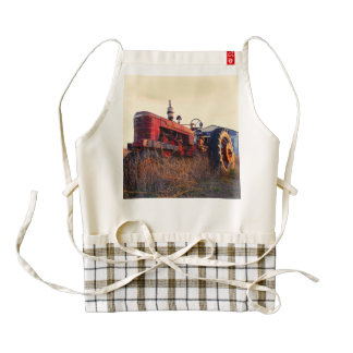old tractor red machine vintage zazzle HEART apron