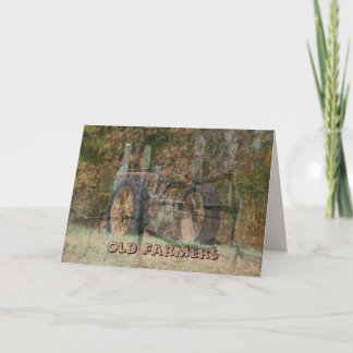 Old Tractor & Split Rail Fence- customize Card