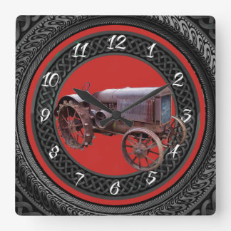 OLD TRACTOR SQUARE WALL CLOCK