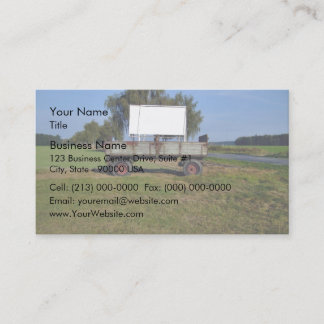 Old Tractor Trailer on a Green Field Business Card