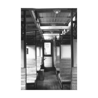 Old train compartment stretched canvas print