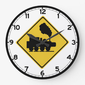 Old Train Crossing Sign, Thailand Large Clock