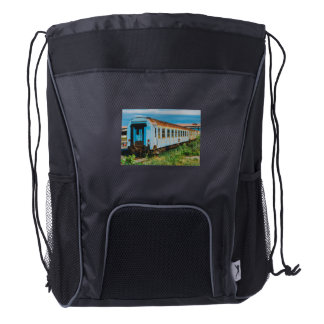 Old train drawstring backpack