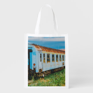 Old train reusable grocery bag