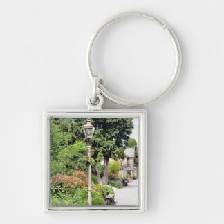 OLD TRAIN STATION Silver-Colored SQUARE KEYCHAIN