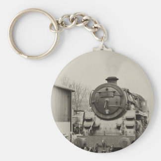 Old Train Station Basic Round Button Keychain