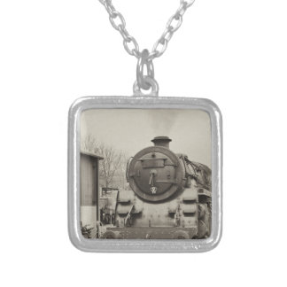 Old Train Station Square Pendant Necklace