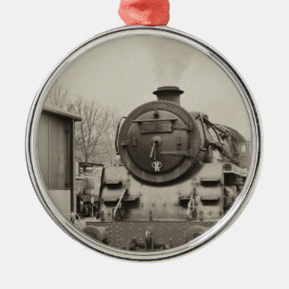 Old Train Station Silver-Colored Round Ornament