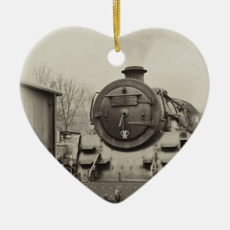 Old Train Station Ceramic Heart Ornament