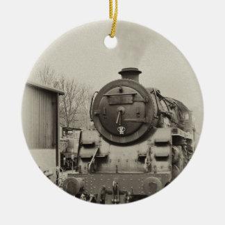Old Train Station Round Ceramic Ornament