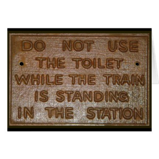 old train toilet sign greeting card