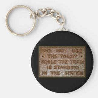 old train toilet sign keychain