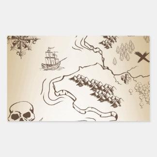 Old Treasure map on scroll Rectangular Sticker
