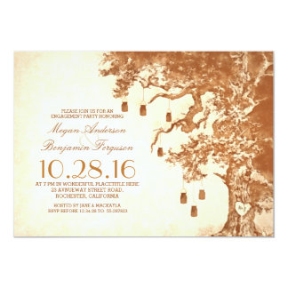 Old tree and mason jars rustic engagement party 5x7 paper invitation card