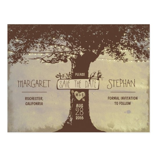 old tree and string lights save the date postcards | Zazzle