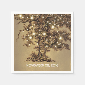 old tree and string lights wedding paper napkins