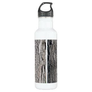 Old tree bark vertical texture water bottle