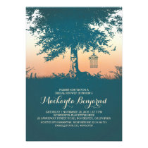 Old tree birds cage romantic bridal shower card