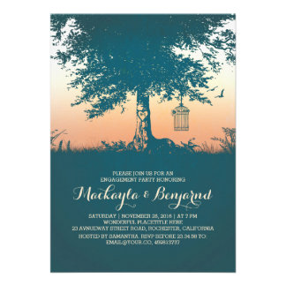 Old tree birds cage romantic engagement party card