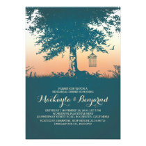 Old tree birds cage romantic rehearsal dinner card