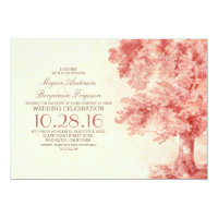 old tree blush watercolor wedding invitations