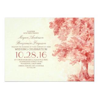 old tree blush watercolor wedding invitations
