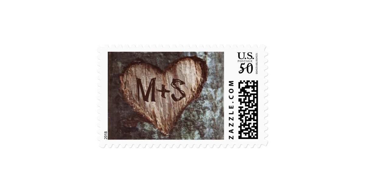 Old Tree Carved Heart Initials Wedding Stamps Zazzle Com