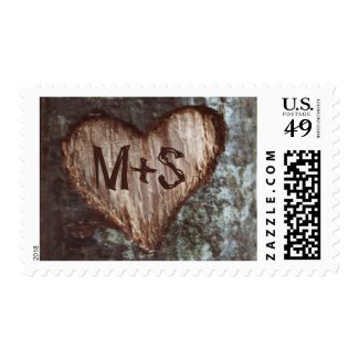 old tree carved heart initials wedding postage stamps at UniqueRusticWeddingInvitations.com