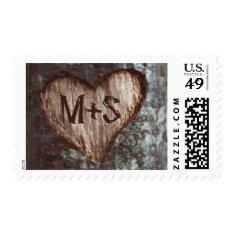 Old Tree Carved Heart Initials Wedding Stamps at Zazzle