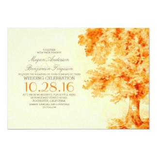 old tree orange watercolor wedding invitations