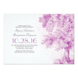 old tree purple heart watercolor rehearsal dinner 5x7 paper invitation card