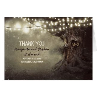 old tree romantic lights wedding thank you cards