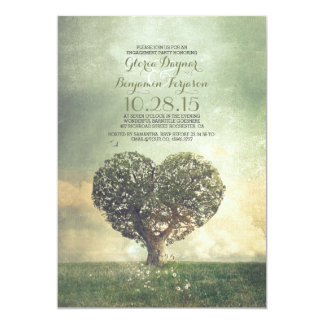 Old tree rustic country engagement party card