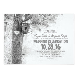 old tree rustic country wedding black & white invites