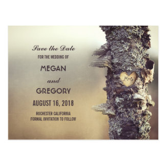 old tree rustic save the date postcard