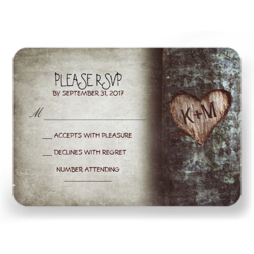 Old tree rustic wedding RSVP cards (front side)